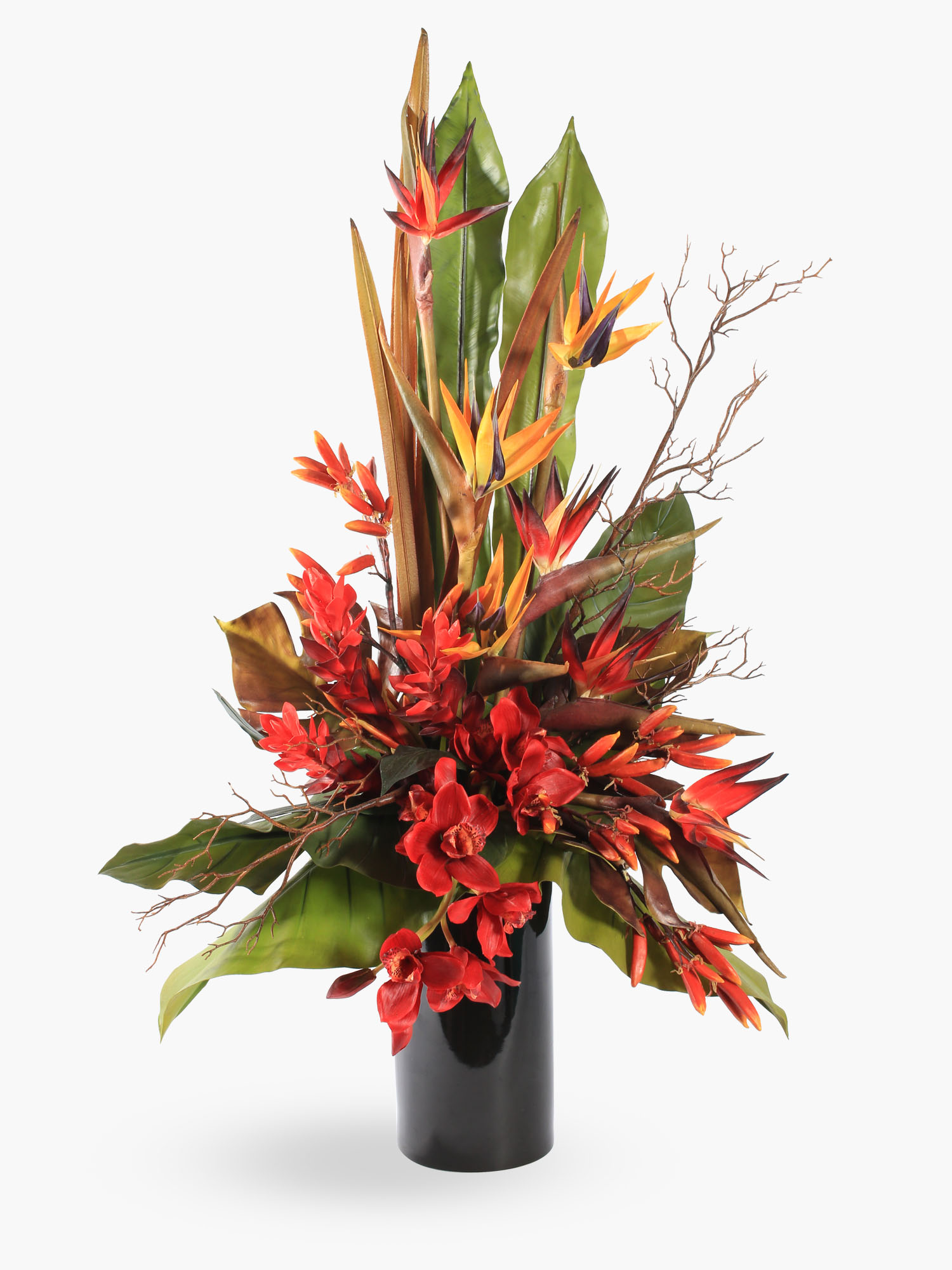 tropical red and orange bird of paradise arrangement