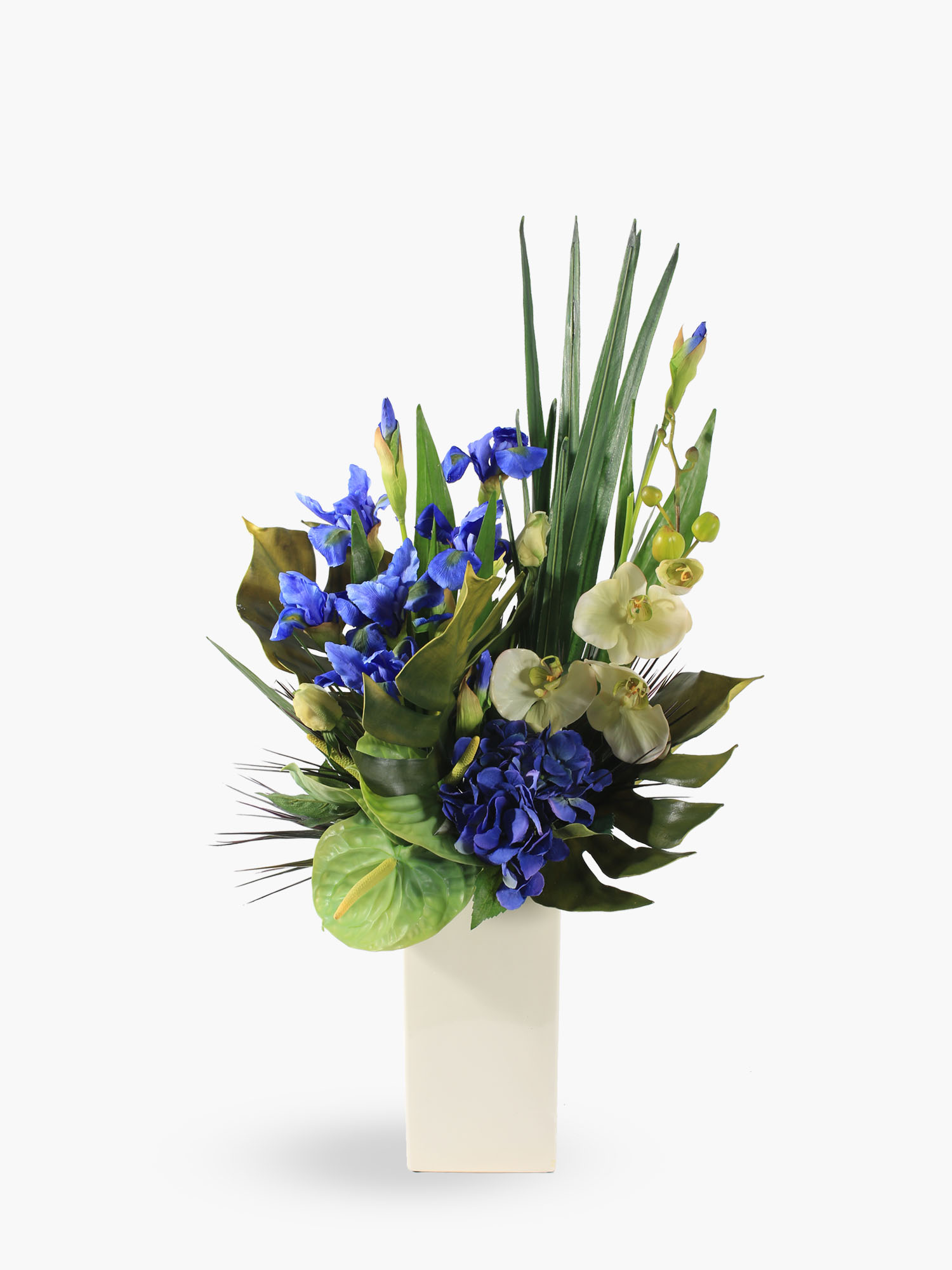 blue iris and hydrangea floral arrangement